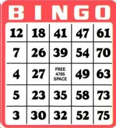 Rental store for Bingo Cards, Set Of 25 in Sacramento CA